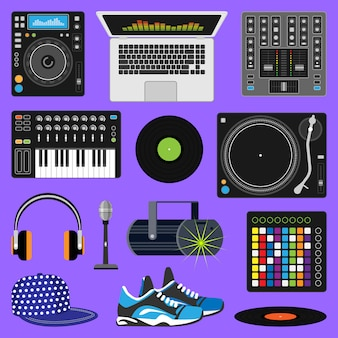 Dj muziek discjockey speelt disco op draaitafel geluid record set met koptelefoon en spelers audio-apparatuur voor het afspelen van vinyl schijven in nachtclub geïsoleerd op achtergrond