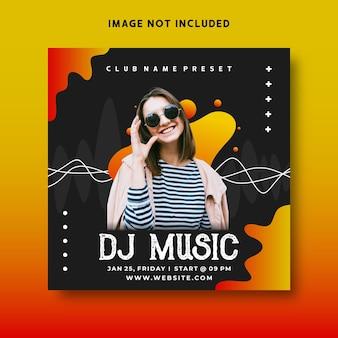 Dj muziekevenement flyer social media postsjabloon