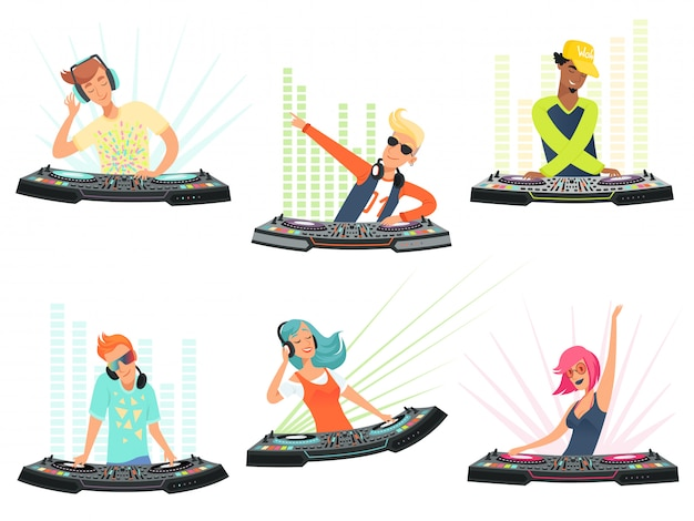 Dj-personages. illustraties muziek cartoon mascottes