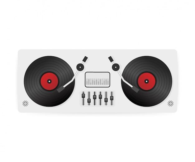 Dj speelt vinyl. bovenaanzicht dj interface werkruimte mixer console draaitafels. .