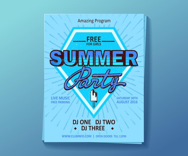 Dj zomerfeest, nachtclubshow poster.
