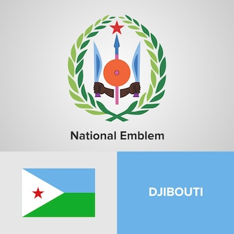 Djibouti national emblem en vlag