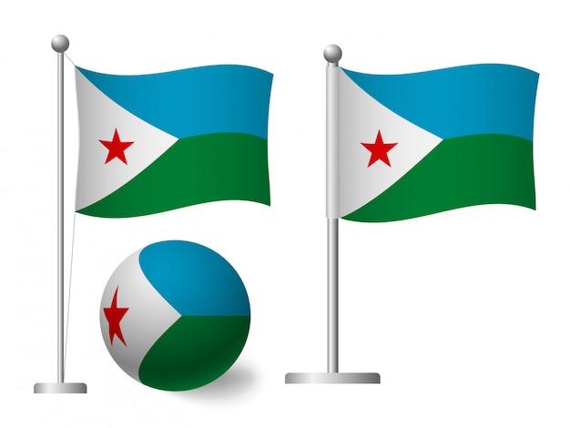 Djibouti vlag op het pictogram van de paal en de bal