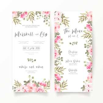 Dl bruiloft uitnodiging en menusjabloon met zachte roze bloemen