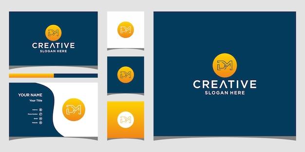 Dm-logo-ontwerp met visitekaartjesjabloon