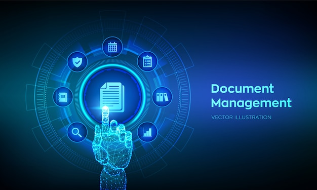Dms. document management data systeem concept op virtueel scherm. robotachtige hand wat betreft digitale interface.