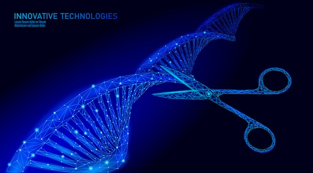 Dna 3d-structuur geneeskunde concept bewerken. lage poly veelhoekige driehoek gentherapie genetische ziekte genezen. gmo engineering crispr cas9 innovatie moderne technologie wetenschap banner afbeelding
