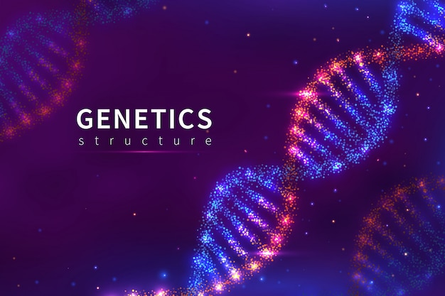 Dna-achtergrond. genetica structuur, biologie technologie. 3d menselijke genoom dna modelaffiche