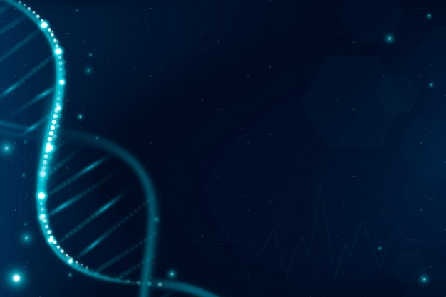 Dna biotechnologie wetenschap achtergrond vector in blauwe futuristische stijl met lege ruimte