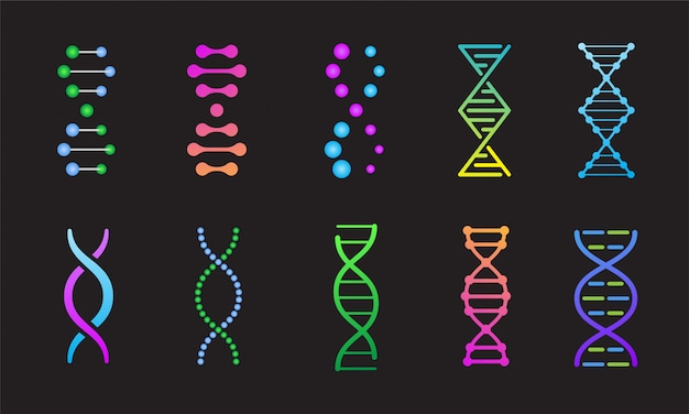 Dna genetische icon set. kleurrijke desoxyribonucleïnezuur symbolen geïsoleerd op zwarte achtergrond