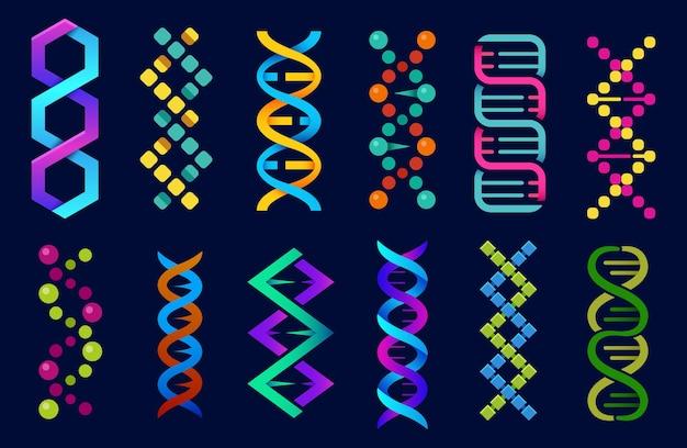 Dna-helix abstracte vorm iconen set