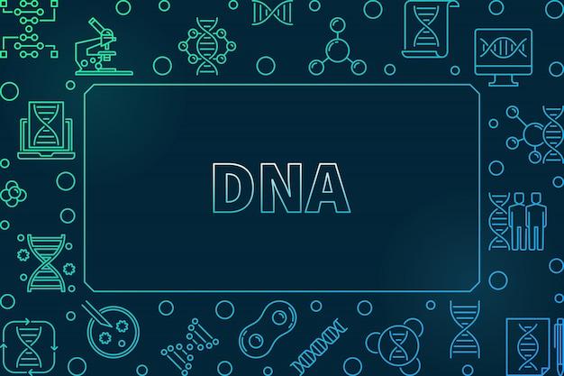 Dna horizontaal kleurrijk lineair kader