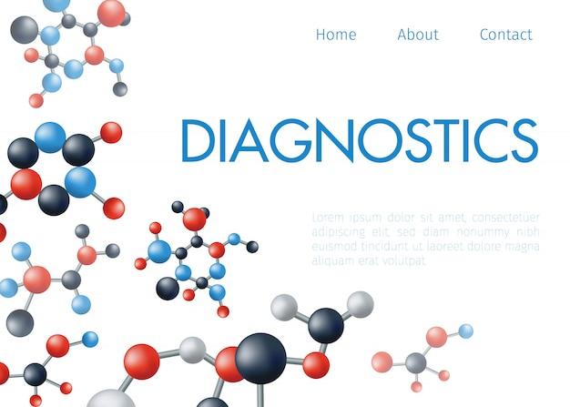 Dna-molecuul geïsoleerd op witte diagnostische centrum website ... medische technologie, biotechnologie, moleculair onderzoek diagnistiс
