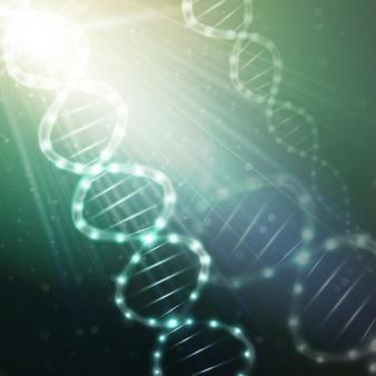 Dna-molecuul structuur op een groene achtergrond. wetenschap achtergrond