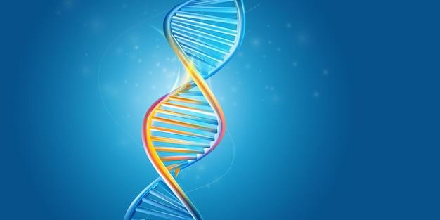 Dna-molecuulstructuur op een blauwe achtergrond