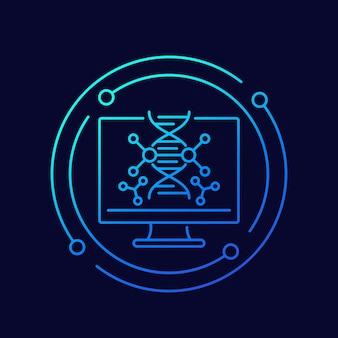 Dna-onderzoek en genetica vector lijn icoon