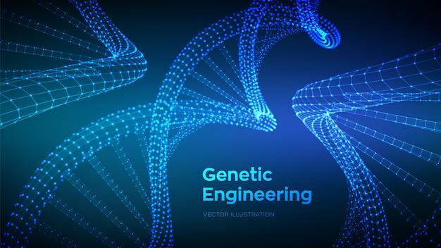 Dna-sequentie. wireframe dna-codemoleculen structureren mesh.