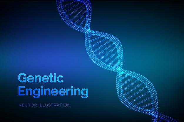 Dna-sequentie. wireframe dna-codemoleculen structuurnetwerk.