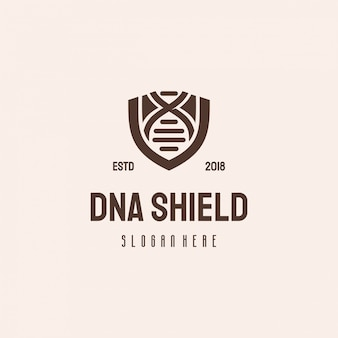 Dna shield logo hipster retro vintage sjabloon, genetisch logo
