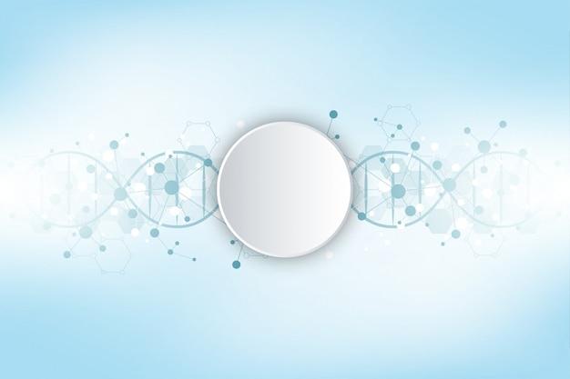 Dna-streng en moleculaire structuur. genetische manipulatie of laboratoriumonderzoek achtergrond