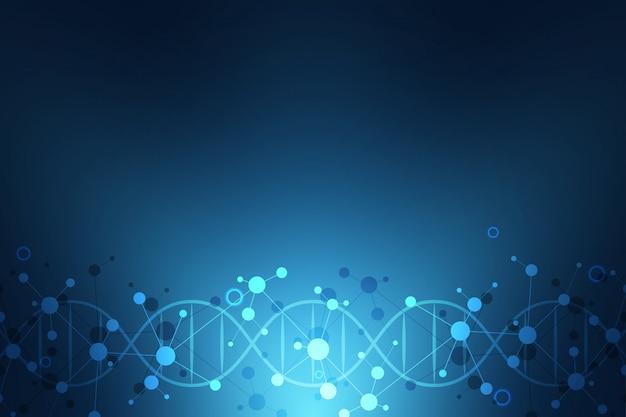Dna-streng en moleculaire structuur. genetische manipulatie of laboratoriumonderzoek. achtergrondtextuur voor medisch of wetenschappelijk en technologisch