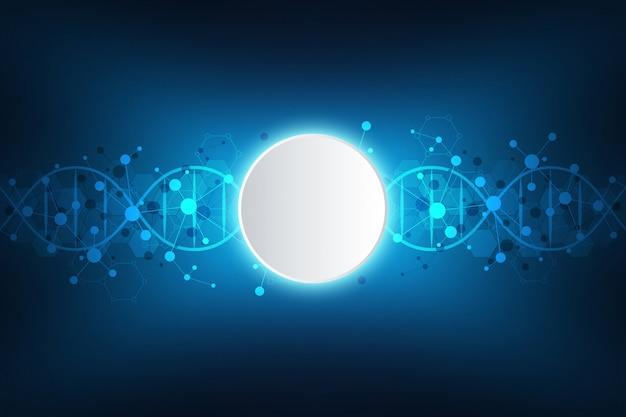 Dna-streng en moleculaire structuur. genetische manipulatie of laboratoriumonderzoek