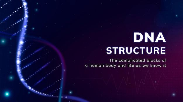 Dna-structuur biotechnologie sjabloon vectorpresentatie
