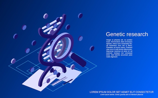 Dna-structuur, genetica onderzoek platte isometrische concept illustratie