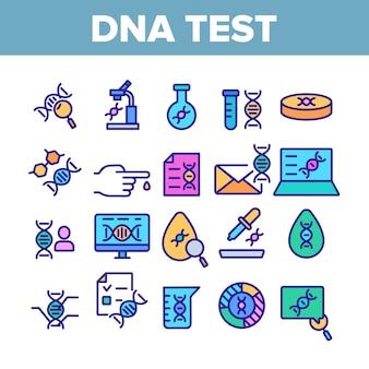 Dna-test collectie elementen icons set