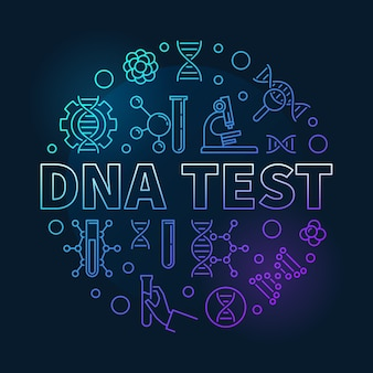 Dna-test ronde coled lineaire illustratie