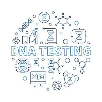 Dna-testende vector ronde creatieve overzichtsillustratie
