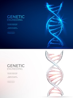 Dna veelhoekige genetische manipulatie abstracte achtergrond.