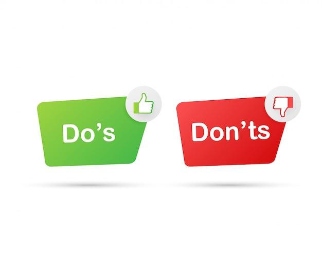 Do's en don'ts houden van duimen omhoog of omlaag. plat eenvoudige duim omhoog symbool minimale ronde logo element set grafisch ontwerp geïsoleerd op wit.