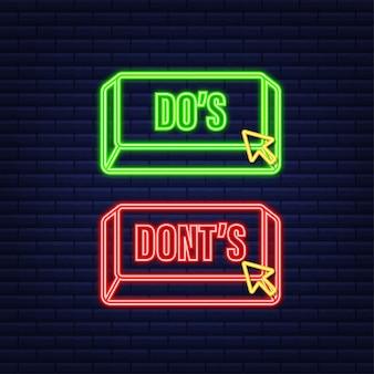 Do's en don'ts neon-knop. platte eenvoudige duim omhoog symbool minimale ronde logo element set. vector illustratie.