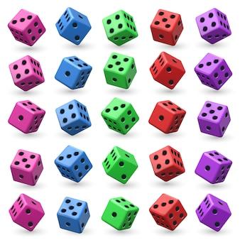 Dobbelset spelen. 3d-kubus met nummers voor bord casino spel.