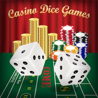 Dobbelspellen met rode dobbelstenen en casinofiche
