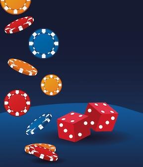 Dobbelstenen en chips gokken casino casino