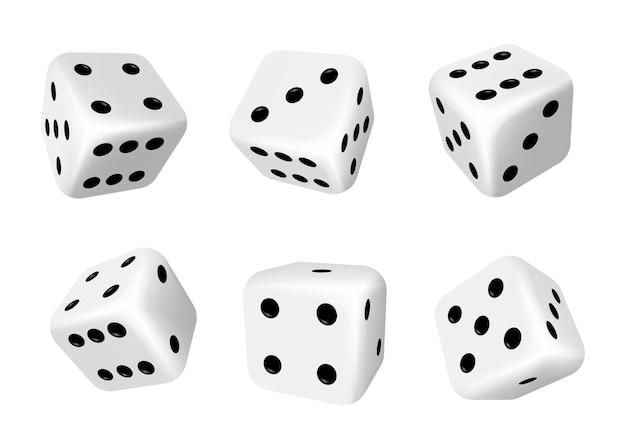Dobbelstenen geïsoleerde 3d-objecten van gokspellen