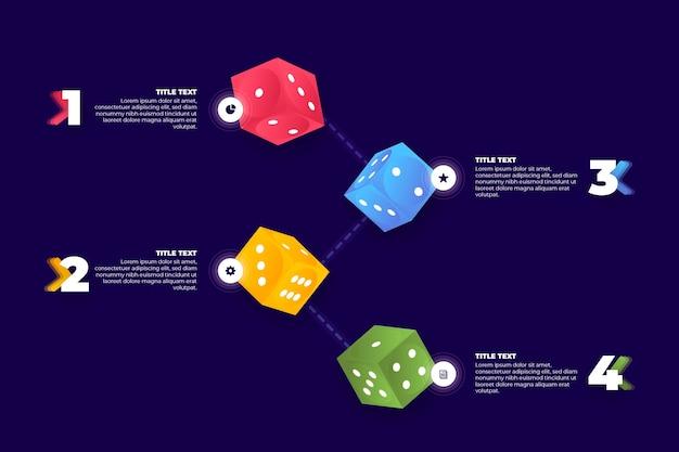 Dobbelstenen infographic sjabloon concept
