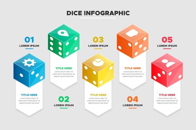 Dobbelstenen infographic sjabloon
