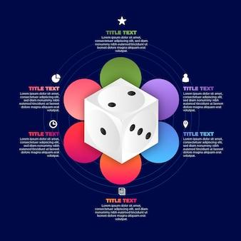 Dobbelstenen infographic sjabloonontwerp