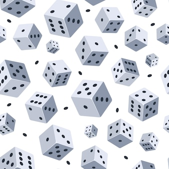 Dobbelstenen patroon. naadloze achtergrond met afbeelding van dobbelstenen. illustraties voor gameclub of casino.