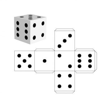 Dobbelstenen sjabloon, model van een witte kubus