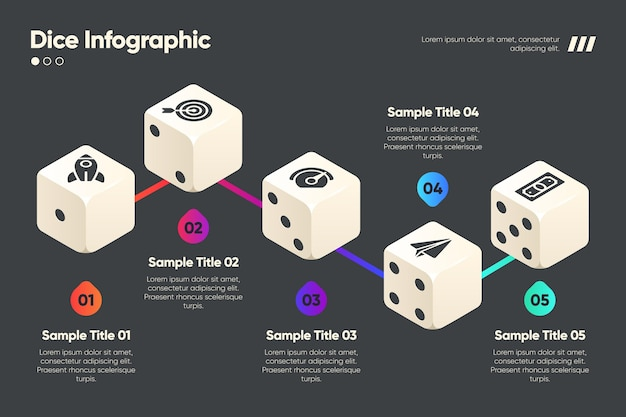 Dobbelstenen sjabloon voor infographic