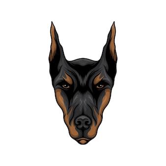 Doberman hoofd hond vectorillustratie