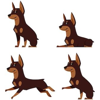 Doberman in verschillende poses. mooie hond in cartoon-stijl.