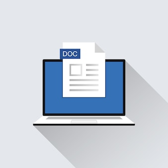 Doc-bestandspictogram op laptop scherm illustratie. indelingsextensie van documentsymbool