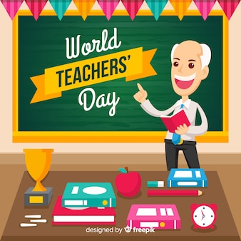 Docent dagsamenstelling docent wereld met krijtbord
