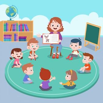 Docent en student in de klas