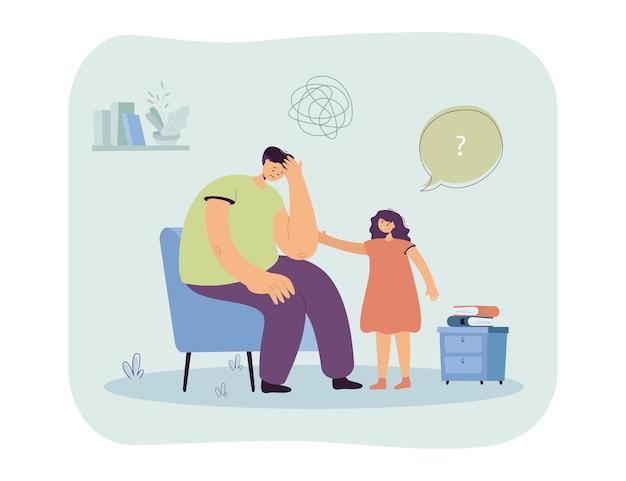 Dochter die zich zorgen maakt over droevige vader. meisje troostend verward mannelijk karakter zittend op stoel vlakke afbeelding